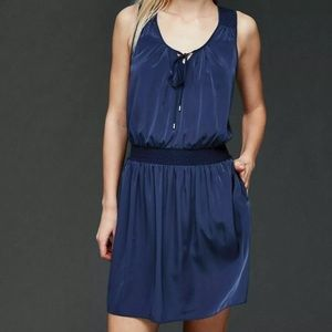 Gap Medium Sleeveless Smocked Dress Keyhole Tie